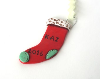 Personalized Stocking ornament for BOY or GIRL Christmas Ornament Christmas folk art ornament