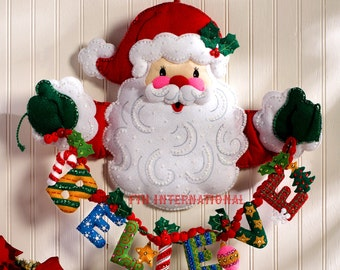 "Bucilla Believe in Santa ~ Felt Christmas Wall Hanging Kit #86189 - 20"" x 17"" DIY"