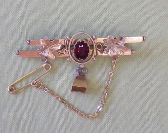 Early 1900's Antique Australian 9 CT Yellow Gold Rhodolite Garnet Bar Brooch Hallmarked