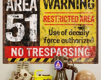 Area 51 No Trespassing Military Wall Decal  - #56140