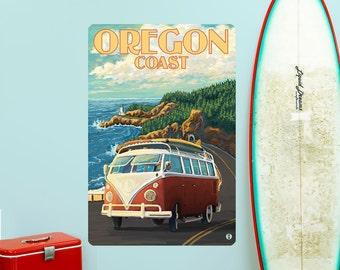 Oregon Coast Surfing Van Wall Decal - #60836