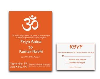 Hindu Wedding Invitation - Indian Wedding Invitation - Om Wedding Invitation - Modern Wedding Invitation - Custom Hindu Wedding Invite