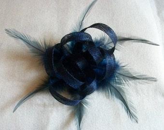 Navy Blue Fascinator Hair Clip Navy Blue Feather fascinator Weddings Evening wear Races Hair Accessory Hand made
