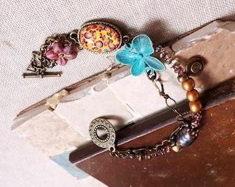 Double strand Czech glass Freshwater pearl patina charm boho bracelet