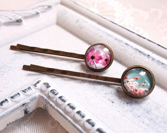 Hair accessory set of two hair pins Violet Pink and Coral Floral cabochon