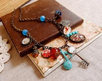 OOAK boho chic necklace Patina charm gemstones mixed media