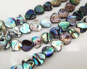 42pcs 10x10mm Abalone Shell Heart Shape Beads Abalone Shell Heart Beads
