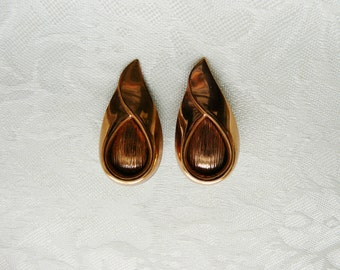 Vintage Large Renoir Teardrop Copper Clip Earrings Designer Gift Christmas Birthday Gifts Collectible