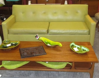 Mid Century 60's Vintage  Couch Sofa Bed in Citron Vinyl