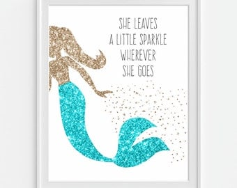 Mermaid Art Print 'She Leaves A Little Sparkle Wherever She Goes' Faux Gold Glitter, Nursery Quote, Nursery Wall Art, Nursery Decor