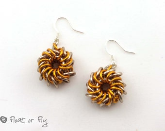 Sunrise Collection: Whirlybird Chain Maille Earrings - Orange and Tan