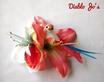 Rockabilly Hair flower Pale Pink Bird, Pin Up, Vintage Hair style