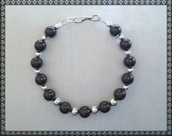 brown bracelet, Swarovski bracelet, dark brown bracelet, silver, brown