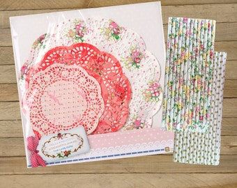 30 Paper Doilies-25 floral paper straws and 25 gold dot paper straws, bridal showers, birthdays and crafting