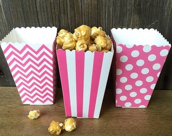 ON SALE Pink Chevron, Stripe and Polka Dot Paper Popcorn Boxes- Wedding, Baby Shower, Birthday Party Supply - 36 Ct.