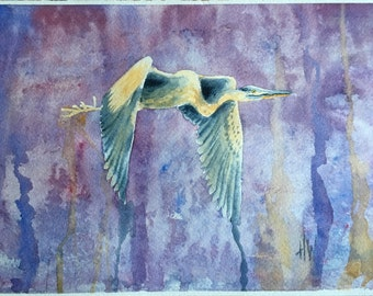 Great Blue Heron in Flight, original watercolor painting, bird art, bird painting, small painting, artist signed