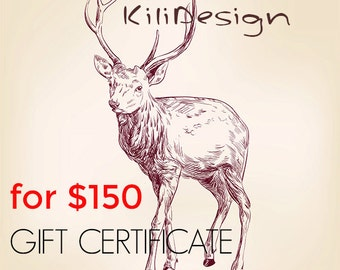 Gift Certificate for 150 usd for any item on Kilidesign shop - Gift Card- leather bags and shoes shop