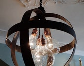 Custom local pick up for Codi Medium Steel Band Sphere Chandelier Pendant in Aged Zinc or Black Finish