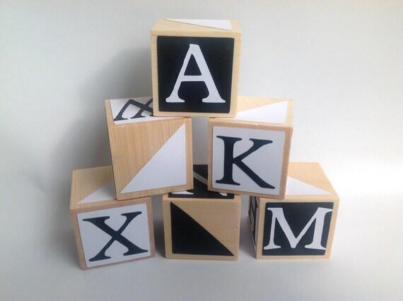 Black And White Abc Blocks : Items similar to black and white geometric design wood
