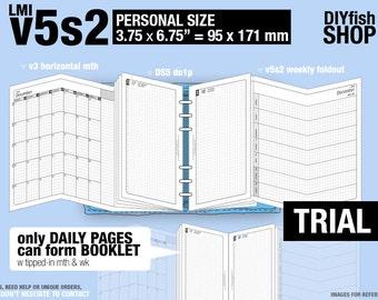 Trial [PERSONAL v5s2 w ds5 do1p] November to December 2017 - Filofax Inserts Refills Printable Binder Planner Midori.