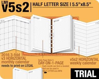 Trial [HALF size v5s2 w ds5 do1p] November to December 2017 - Half Letter - Filofax Inserts Refills Printable Binder Planner Midori.