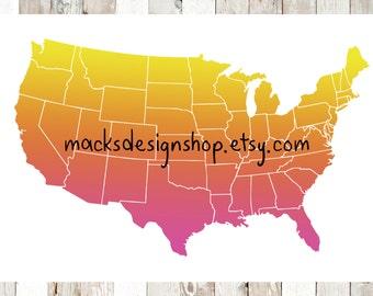 Continental US Map DIGITAL Print DOWNLOAD