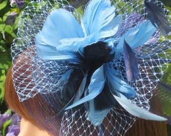 Navy   light blue crinoline fascinator.Wedding,race days ,garden party.