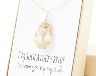 Champagne Gold Swarovski Necklace - Large Crystal Necklace - Champagne Swarovski Necklace - Wire-Wrapped - Bridesmaid Necklace Gift
