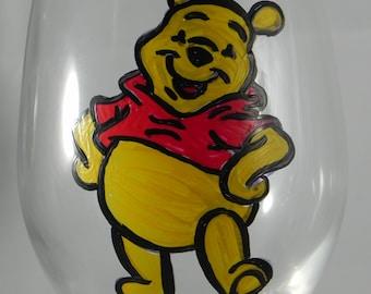 Winnie the Pooh Hand Painted Wine Glass
