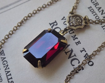 Art Deco ~ Garnet Pendant ~ Vintage Glass ~ Marsala Burgundy ~ Necklace ~ Rare Swarovski ~ SET available ~ by LadyofTheLakeJewels