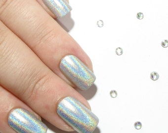 Short Nails - Fake Nails - Press On Nails - Holographic Nails - Glue On False Nails - Hand Painted Nails - Acrylic Nails - Artificial Nails