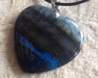 BLACK FRIDAY SALE: Unique Blue Green Heart Dragon Veins Agate Pendant Necklace-Rare Blue Heart Pendant-Blue Agate Pendant-Blue Onyx