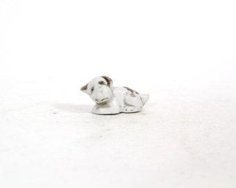 Vintage Small Miniature White Puppy, Spaniel Dog Figurine, Shadowbox Shadow Box