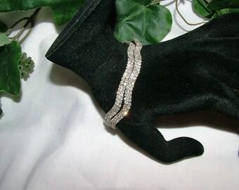 Vintage Crystal Rhinestone Double Row 7.5 Inch Rhodium Bridal Statement Bracelet