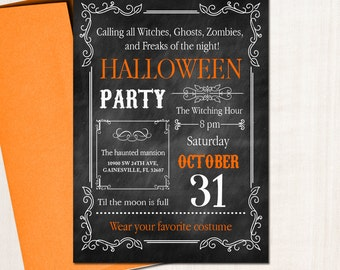 Halloween Birthday Party Invitation - Halloween Chalkboard Invite - Any type of Event - Any Info - Printed or Printable File Free Shipping