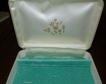 SALE Vintage Travel Jewelry Box Case 50s 60s Cream Leather & Turquoise Blue Velvet Box Mid Century Jewelry Jewelry Storage Box Case Holder