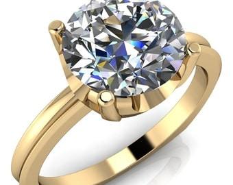 Abriana Round Moissanite U Gallery Hybrid Edged Euro Shank Ring