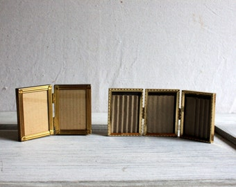 2 Mid-Century Gold Metal Hinged Bifold and Trifold Frames : vintage