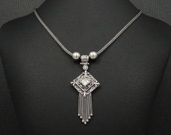 Cubic Zirconia Necklace Etruscan Style 925 Sterling Silver Greek Handmade Art Unique