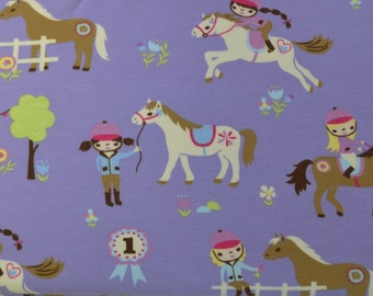1/2 yd jersey, Knit-Jersey,  horse girl lilac (15,98 EUR/yd)