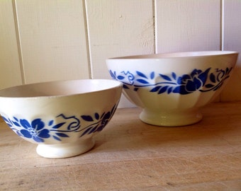 Vintage French Cafe au lait bowls - pair - Blue and White  - traditional 1950s - Large and Small size