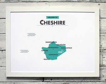 Cheshire County Map | # poster, vintage, retro, print