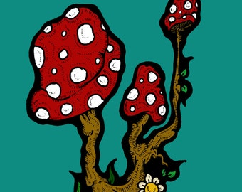 Fantasy Toadstools - Hand Illustrated Greetings Card - 100% Recycled
