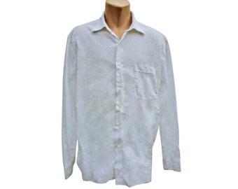 Vintage Lorenzini per mientus men shirt white 100% cotton size 17 1/2, 44 Made in Italy