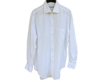 Vintage Ermenegildo Zegna men shirt white size 43/17 100% cotton