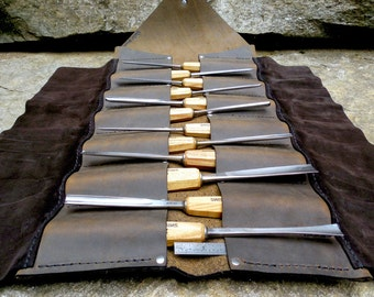 Leather Tool Roll- perfect for carving tools, chisels, paintbrushes and more.