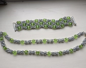 Czech glass chainmaille bracelet OR necklace - your choice of colours