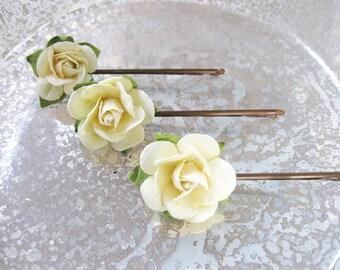 Rose Hair Clip | Rose Hair Pins | Flower Bobby Pins | Flower Girl Hair Accessories