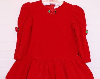 Vintage Christmas girls dress. Red Velvet with rose detailing and long sleeves, no name sz 4T