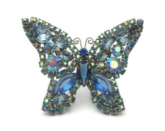 Signed Weiss Blue AB Rhinestone Butterfly Brooch Pin - Silver Tone and Shades of Blue Vintage Weiss Butterfly Pin